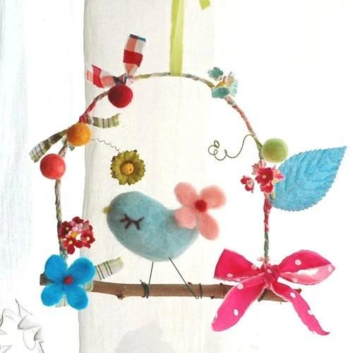 a little bird and flowers (blue)
