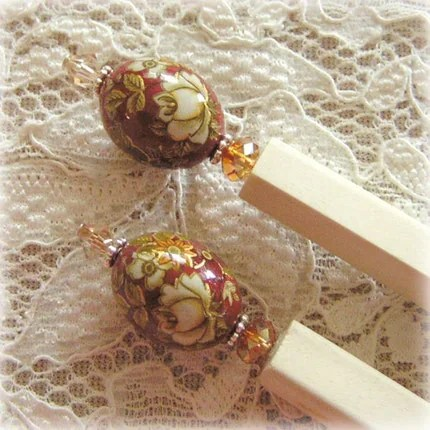 EBTW SALE - WARM LOVE - Floral Tensha Beaded Hairsticks