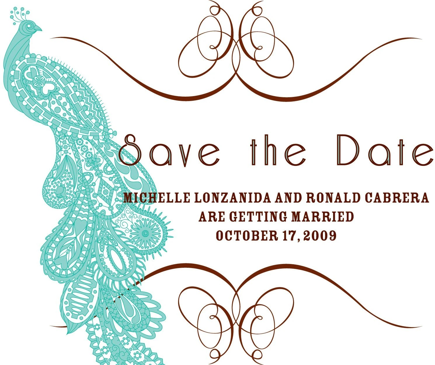 Peacock Save The Dates - Set of 25