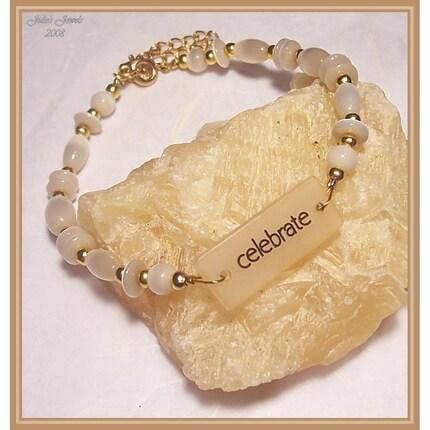 JJs - Celebrate Statement Bracelet with Cats Eyes Beads --- etsyBEAD EBTW Sale - Make A Statement - by ljjnjm