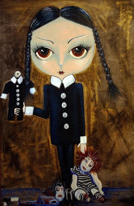 Collectable Wednesday Addams Original Painting