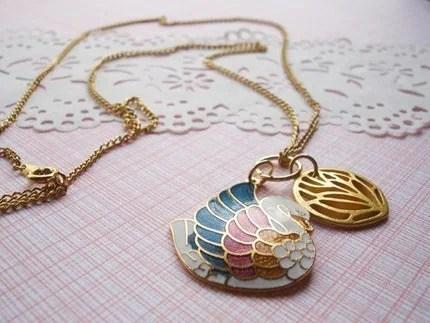 lovely swan pendant necklace, vintage, gold detailing, colorful
