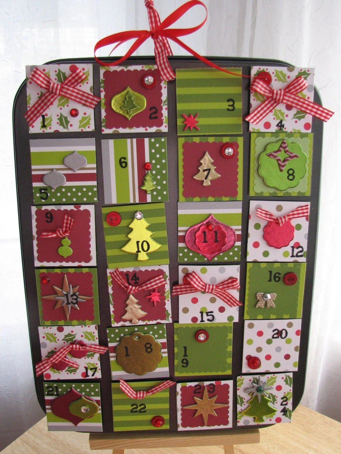 Cupcake Muffin Tin Advent Calendar - Red and Green Holiday