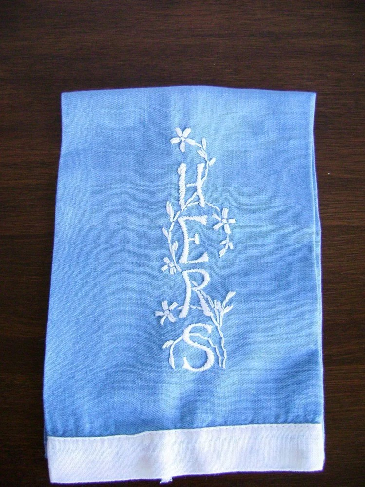Vintage blue and white embroidered linen hand towel HERS