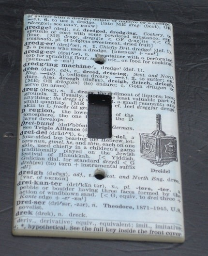 vintage dictionary DREIDEL light switch cover