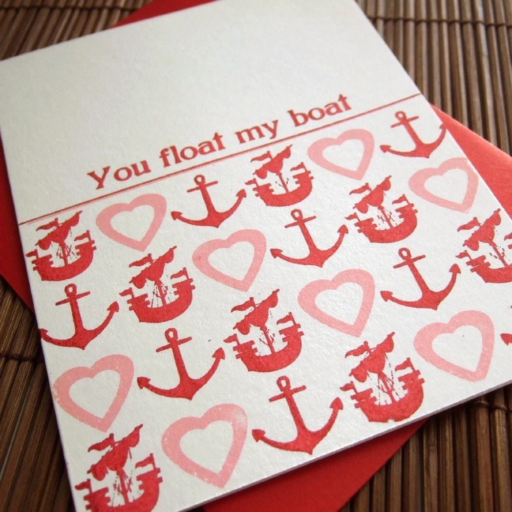 You Float My Boat Valentine - folded card
