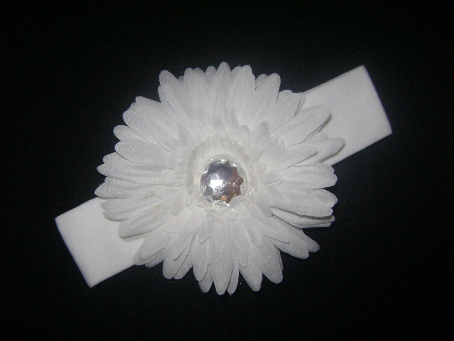All White Gerbera Daisy with white cotton headband rhinestone bling