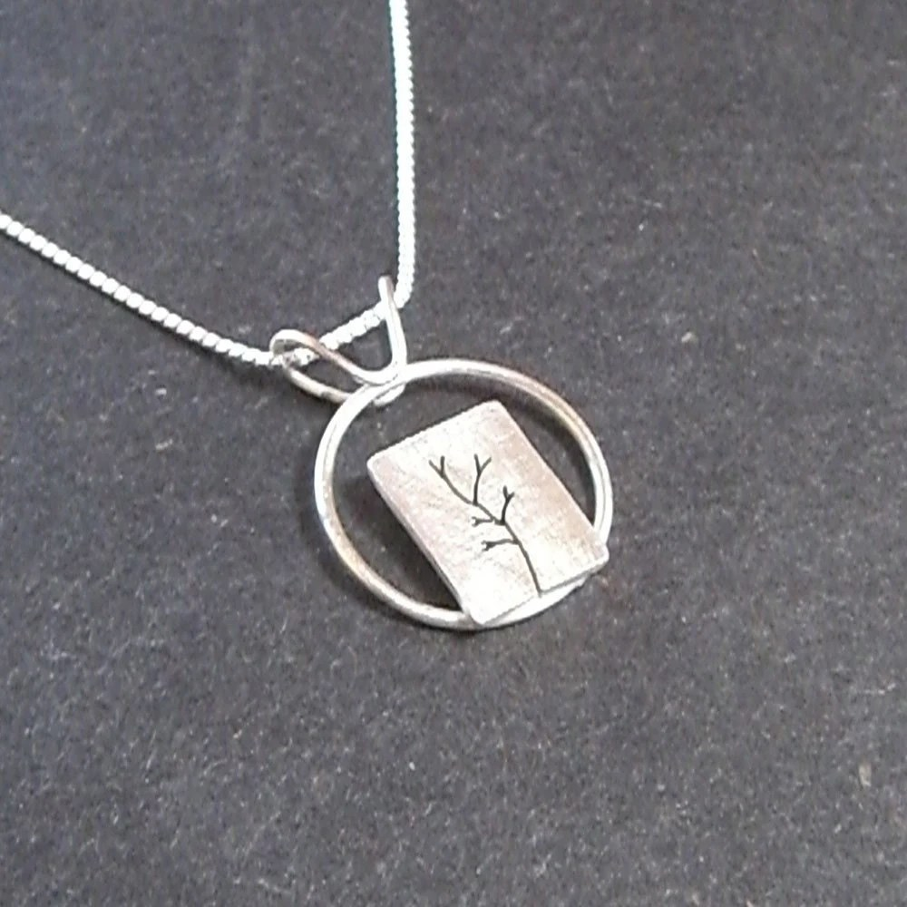 Around the Silver Tree Necklace with chain