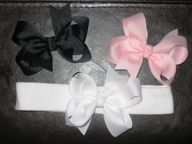 NEWBORN INFANT STARTER SET... 3 HAIR BOWS AND HEADBAND... ONE DOLLAR SHIPPING