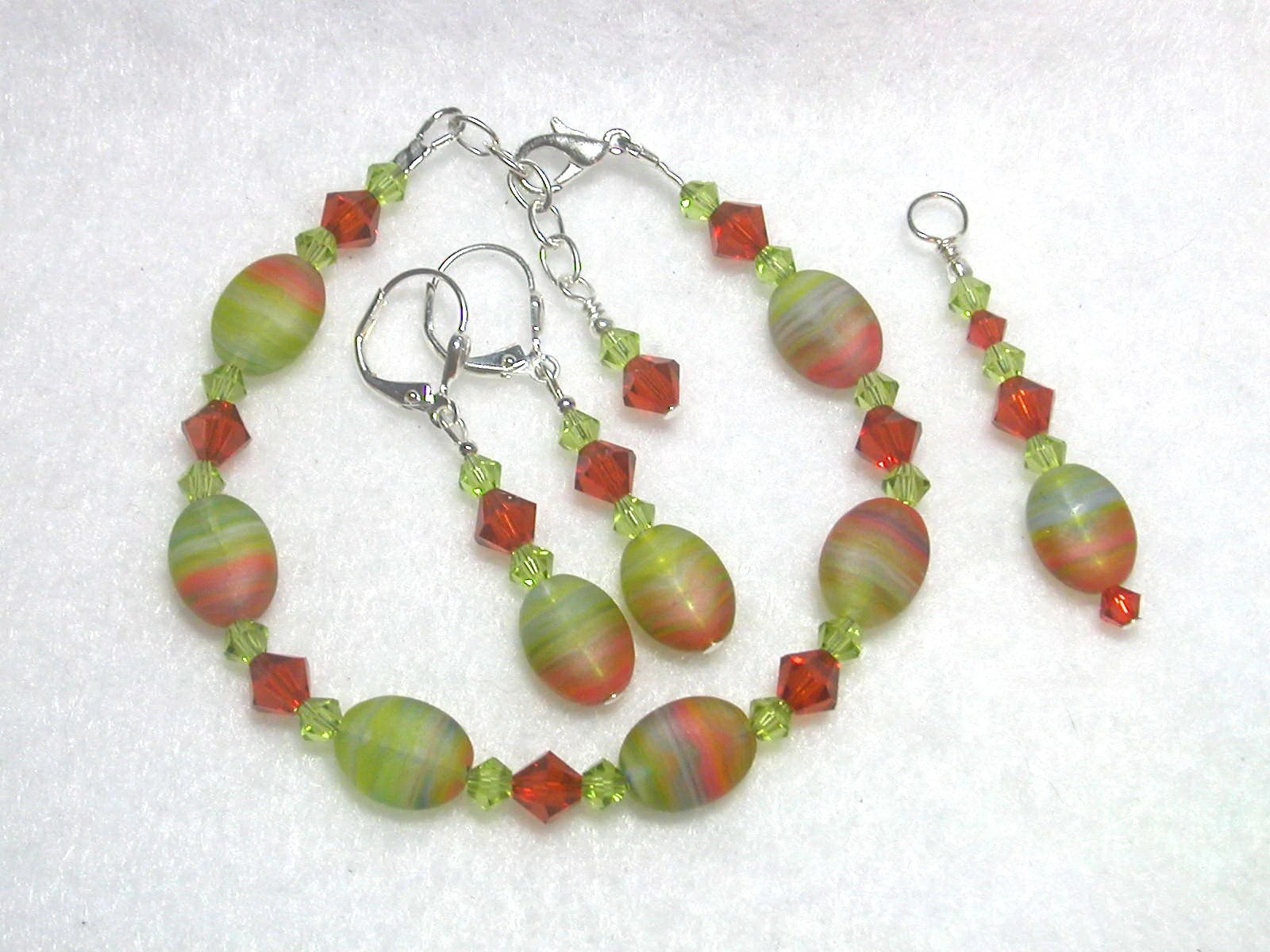Lime and Rust Bracelet Pendant and Earrings