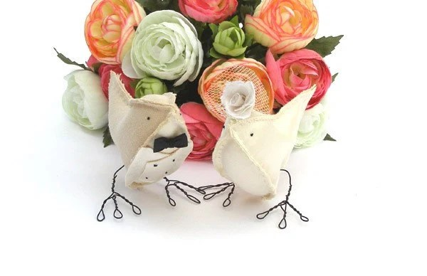 Linen and Satin Love Birds by Cotton Bird Designs