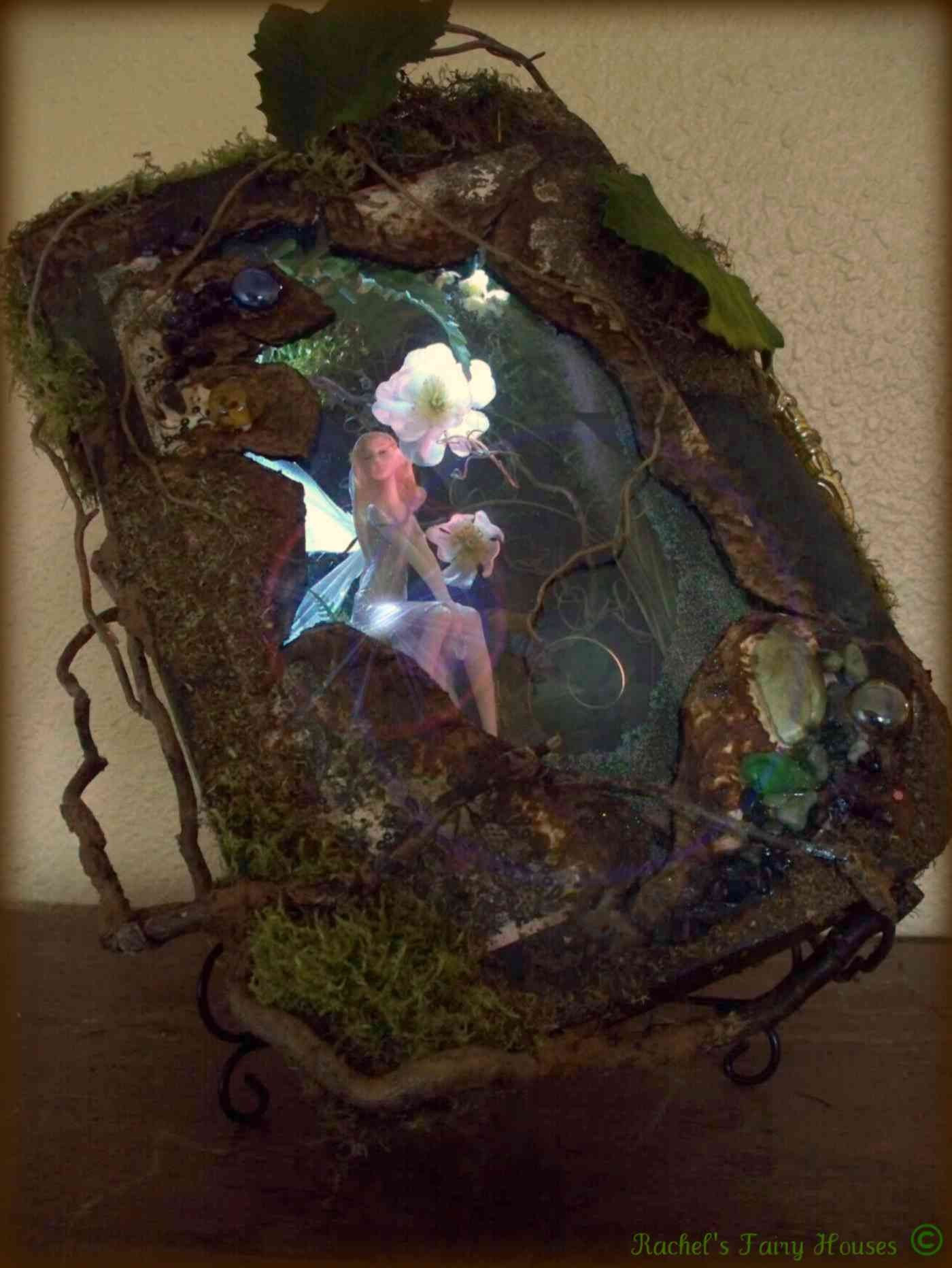 Fairy Shadow Box Fairy House  Titled  Moon Flower OOAK WITH WORKING LIGHTS