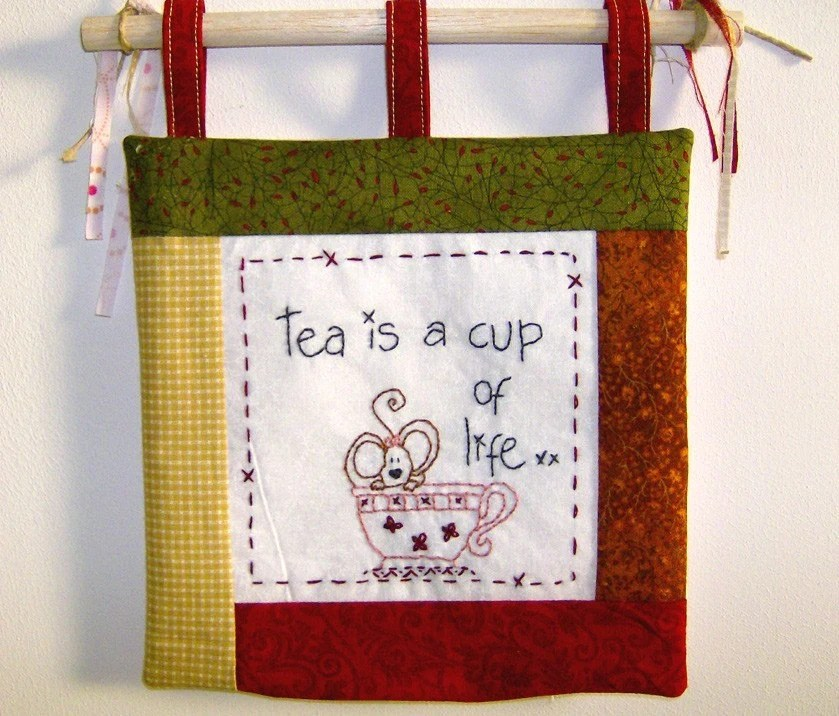 tea is a cup of life -- hand stitched quilt wall hanging