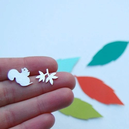 Tiny Squirrel and Branch Earrings