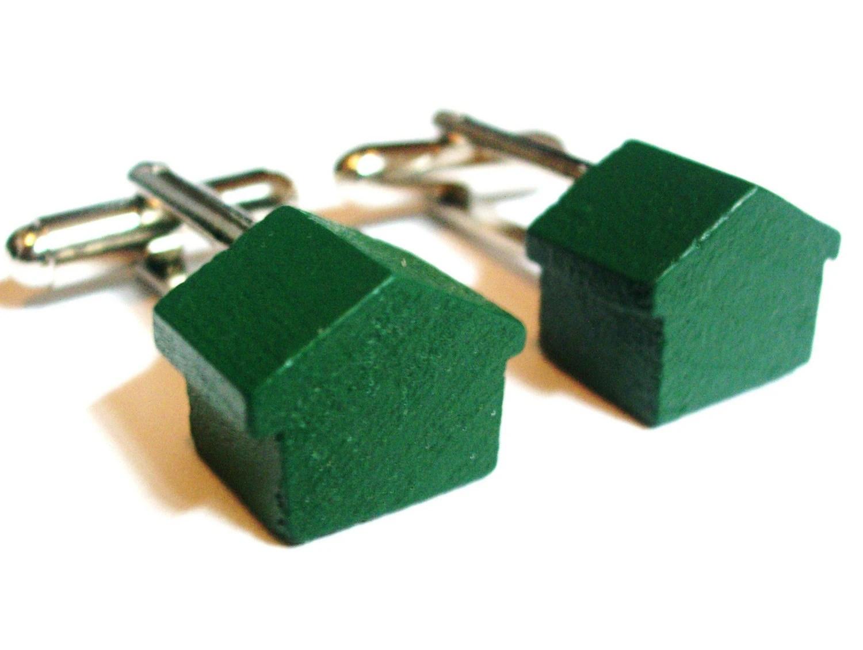 Monopoly Wooden Green House Cufflinks