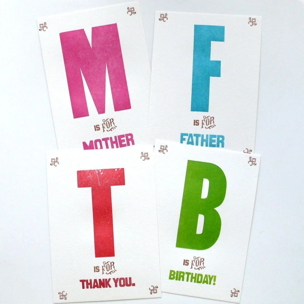 T is for Thank you Letterpress Greeting Card
