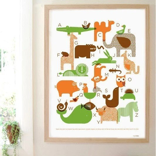 animal alphabet silkscreen poster