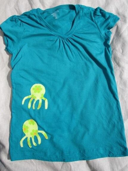 Girls Octopus Applique Short Sleeve Shirt, Size Girls XL