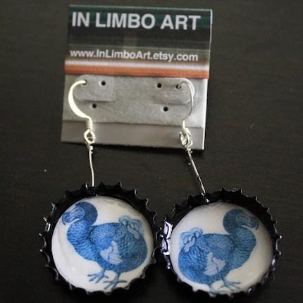 Blue Dodo Illustration earrings
