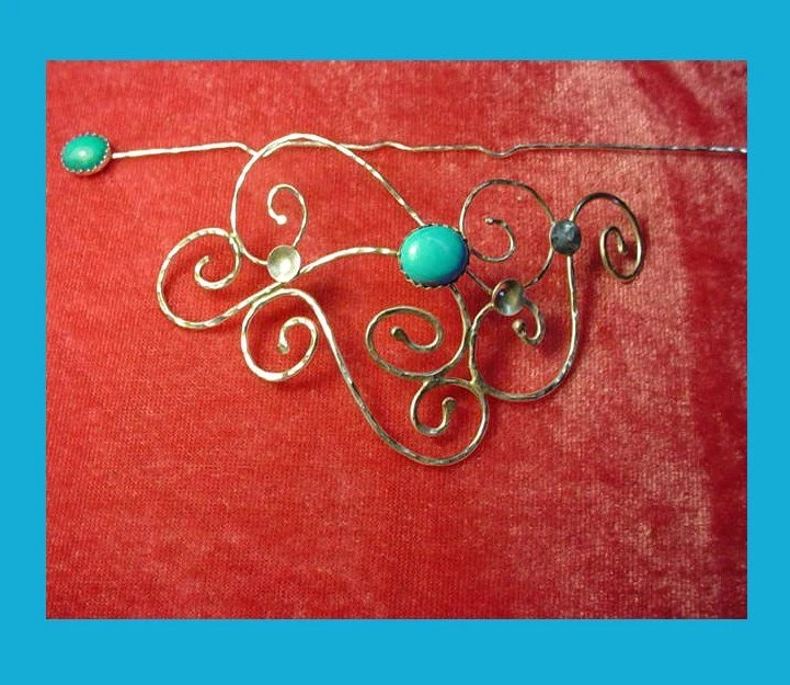 Sterling silver and Turquoise barrette - sweater clasp or hair slide with stick