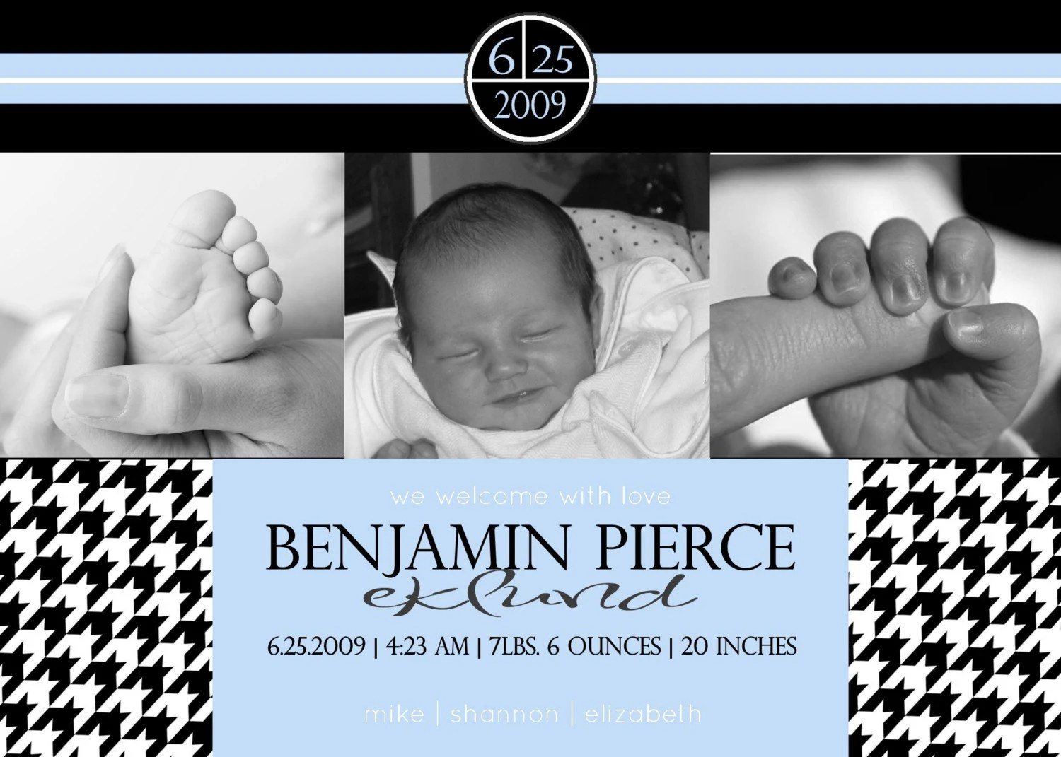 Custom You Print Digital Birth Announcement....Houndstooth