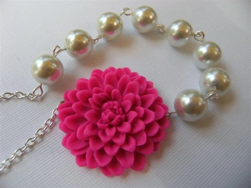 Pink and Pearl Dahlia Necklace