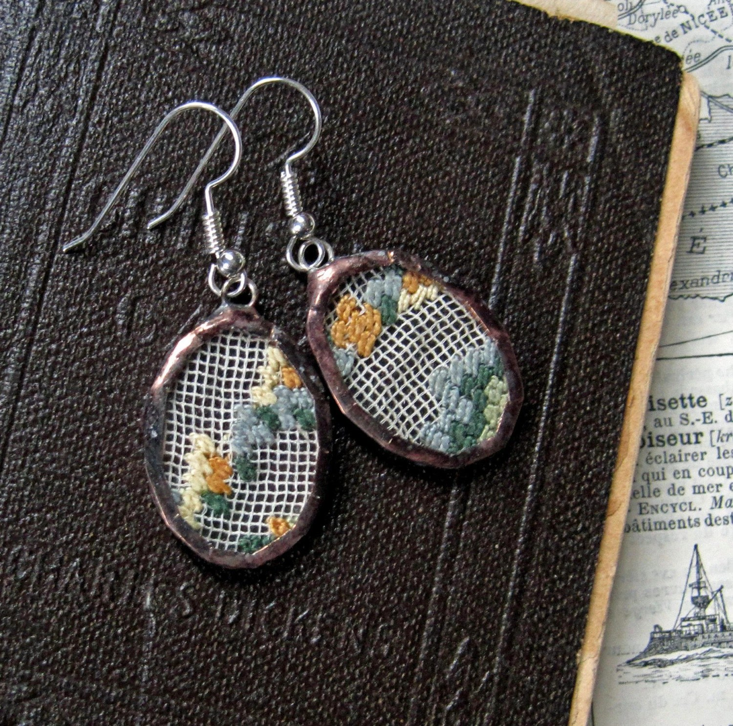 Antique Needlepoint Earrings