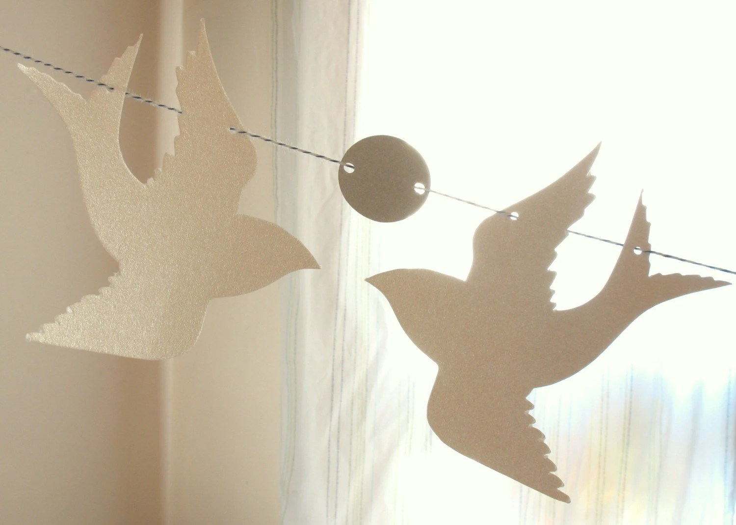 Doves and Silver Circles Paper Garland