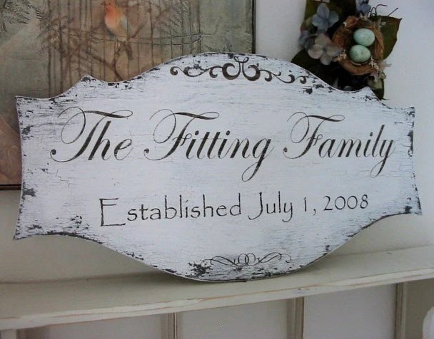 WEDDING or FAMILY SIGN with YEAR ESTABLISHED 27 x 14 Shabby Cottage Signs