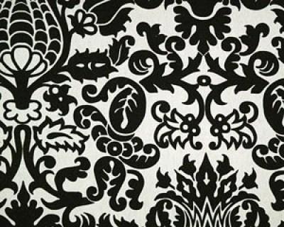 Designer Home Decor Fabric-Black and White Damask- 1 yard