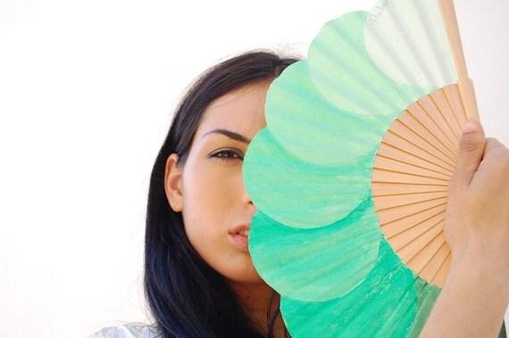 Hand-painted fan. Green bubbles.
