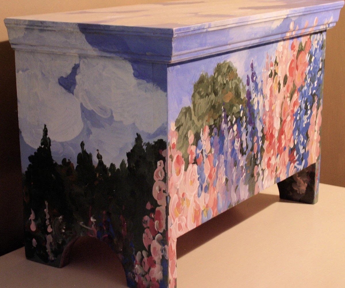 Original Hand Painted Garden Scene on Pine Farmhouse Cottage Storage Trunk
