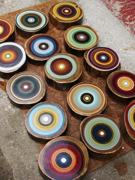 Large Grouping of Mid Century Modern Tree Ring Paintings by Tracy Melton
