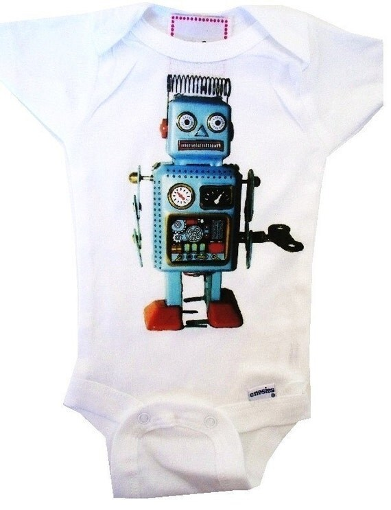 RETRO ROBOT BOUTIQUE ONESIE - Size nb up to 24 mos - WONT CRACK OR PEEL