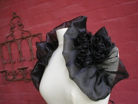 French Midnight Spell Black Organza Wrap with Hand-Made Organza Roses - A Treasury West Featured Item