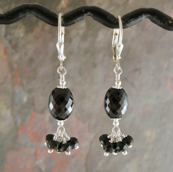 HOLIDAY SALE GLITTERATI, Black Spinel and Sterling Beaded Earrings TPMB