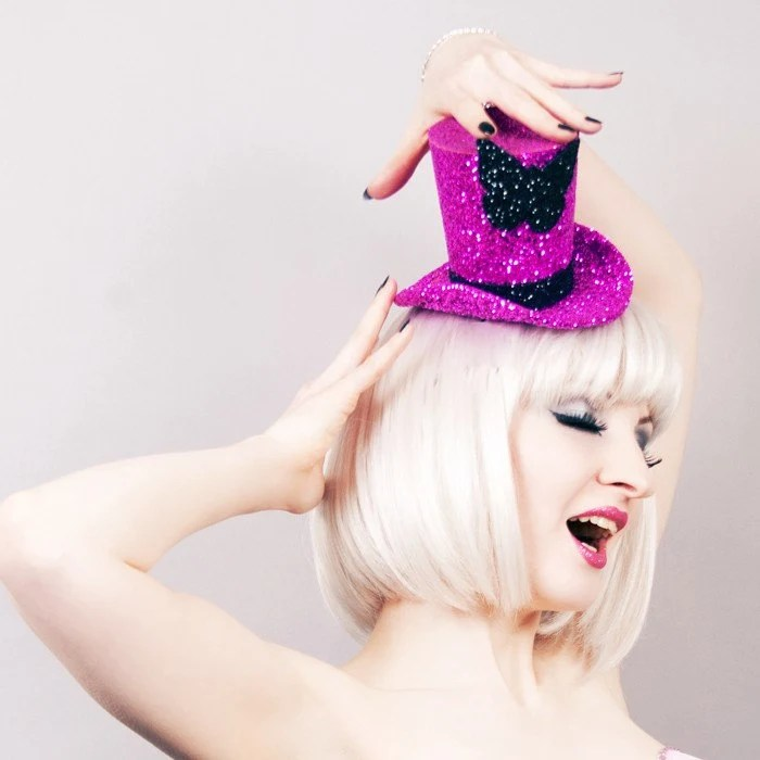 Hot pink glitter mini top hat - burlesque