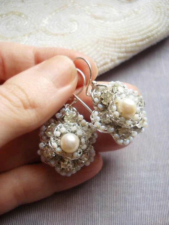 AIGLENTINE Wedding Earrings- Freshwater Pearl, Vintage Rhinestone and Handmade Silver Lace- Made to Order