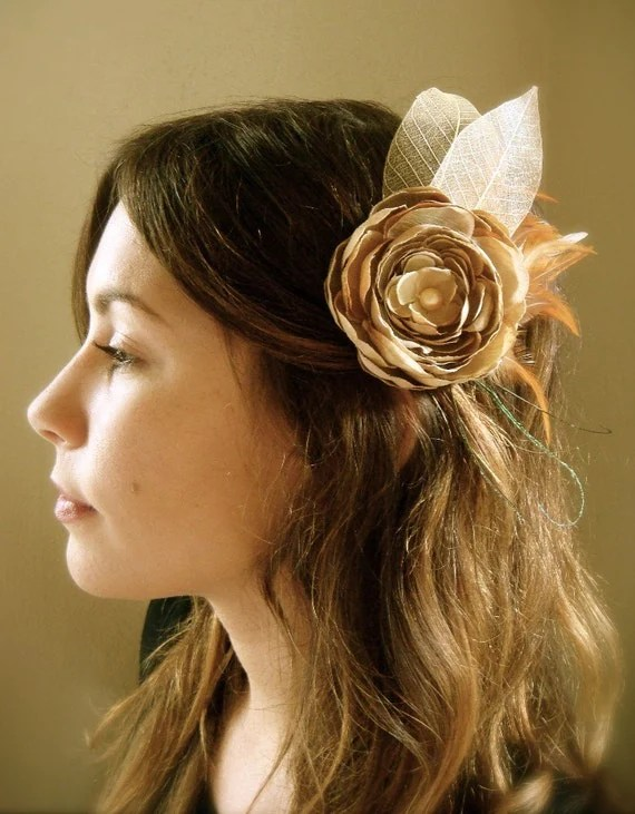 Naturel - Handcrafted Flower and Feather Fascinator