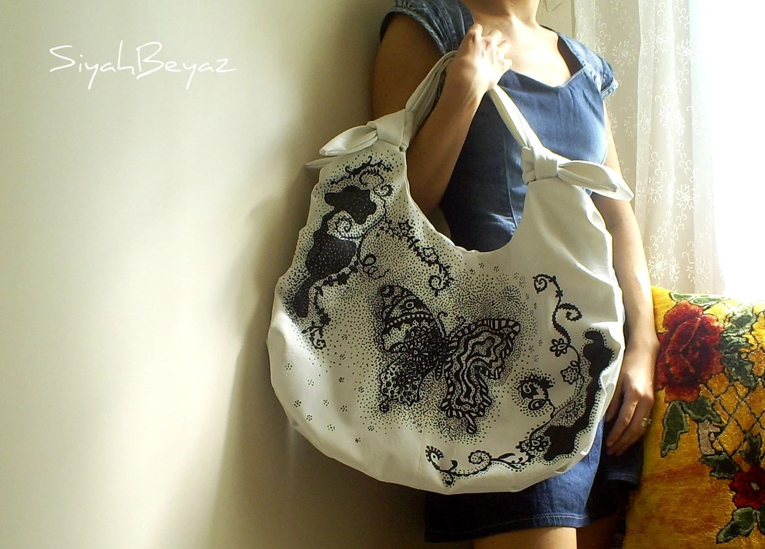 BUTTERFLY Handpainted Shoulder Bag Purse SiyahBeyaz AOD