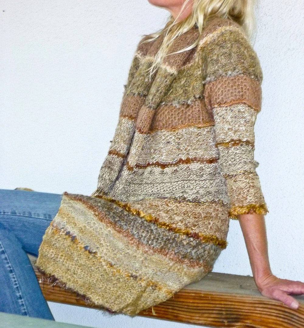 Mixed Stitches and Yarns Sweater Coat in Caramel, Camel and Olive