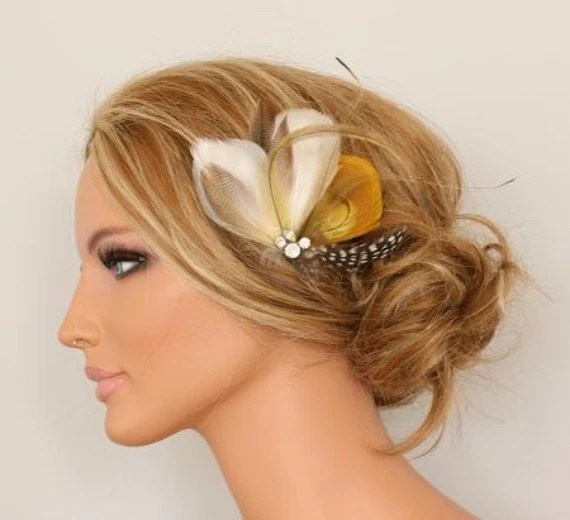 HONEY BEE - Made to order feather headpiece - Ships in 3 - 4 weeks
