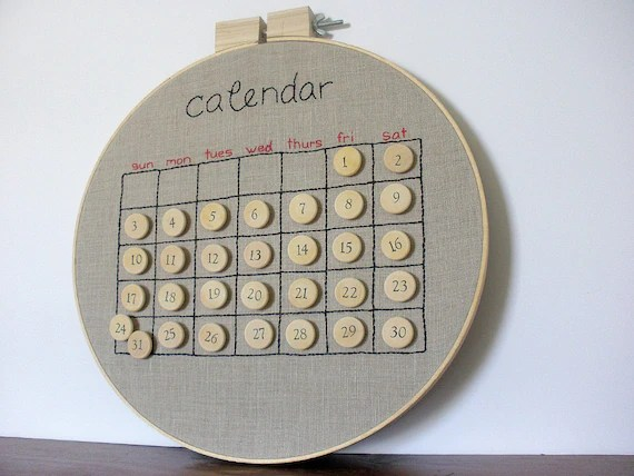 Embroidered Perpetual Calendar - Made to Order