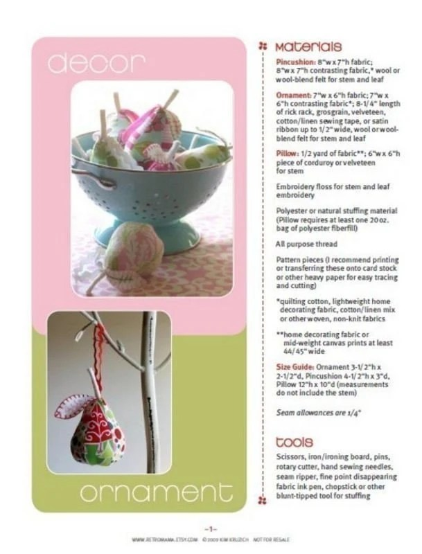 PDF Sewing Pattern for Plush Pear Pincushion, Ornament, and Pillow
