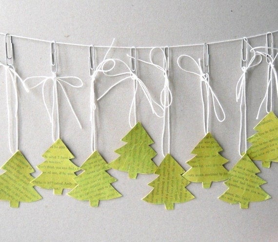 Handmade Gift Tags, Set of Eight - Green, Christmas Trees, Holidays, Antique Paper, Vintage Paper, Text