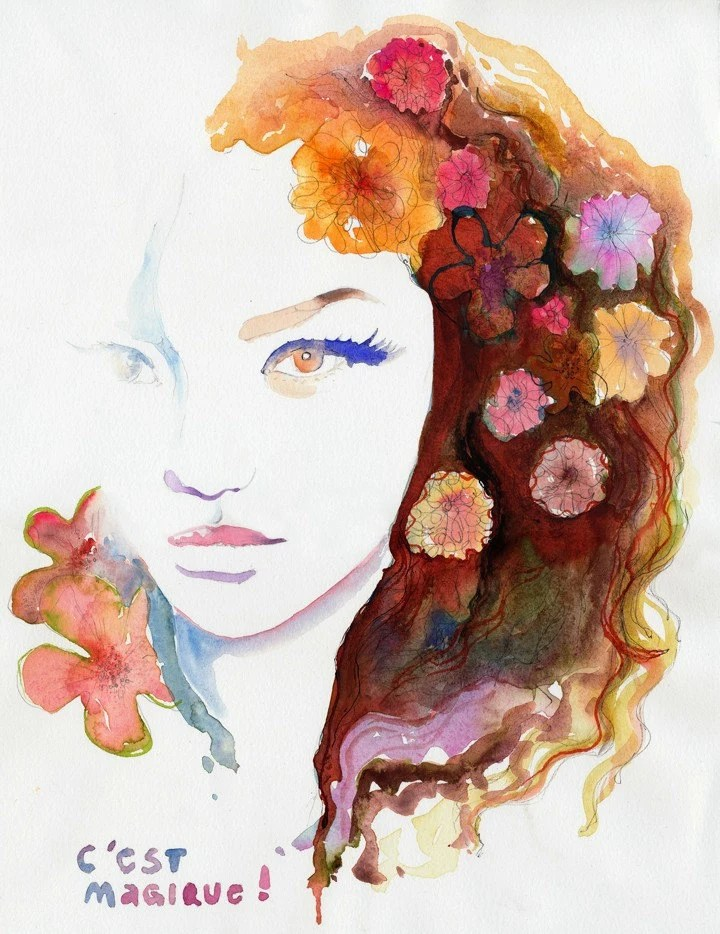 Watercolor Fashion Illustration Print  C est Magique
