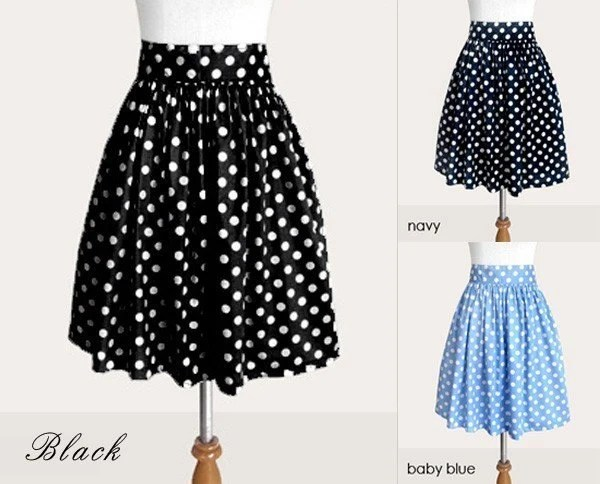 Custom black and white polka dot skirt with pockets