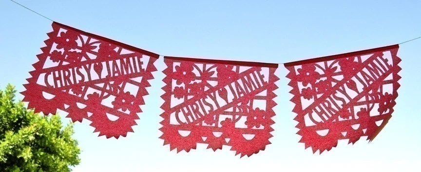 LOS NOVIOS (3-Pack) Custom Wedding Papel Picado Banners featured in Brides Magazines