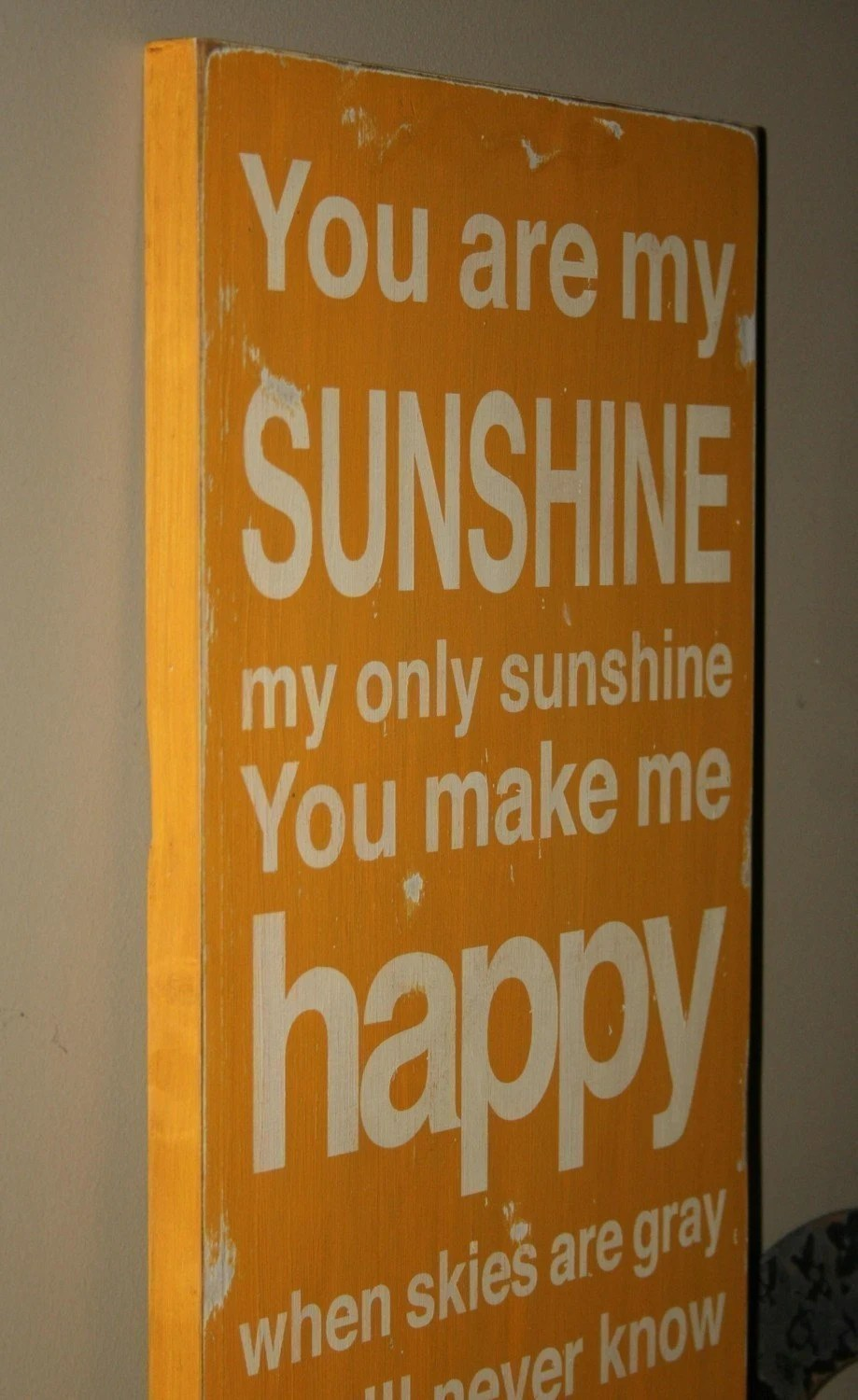 You Are My Sunshine Sign Typography Word Art in Golden Yellow