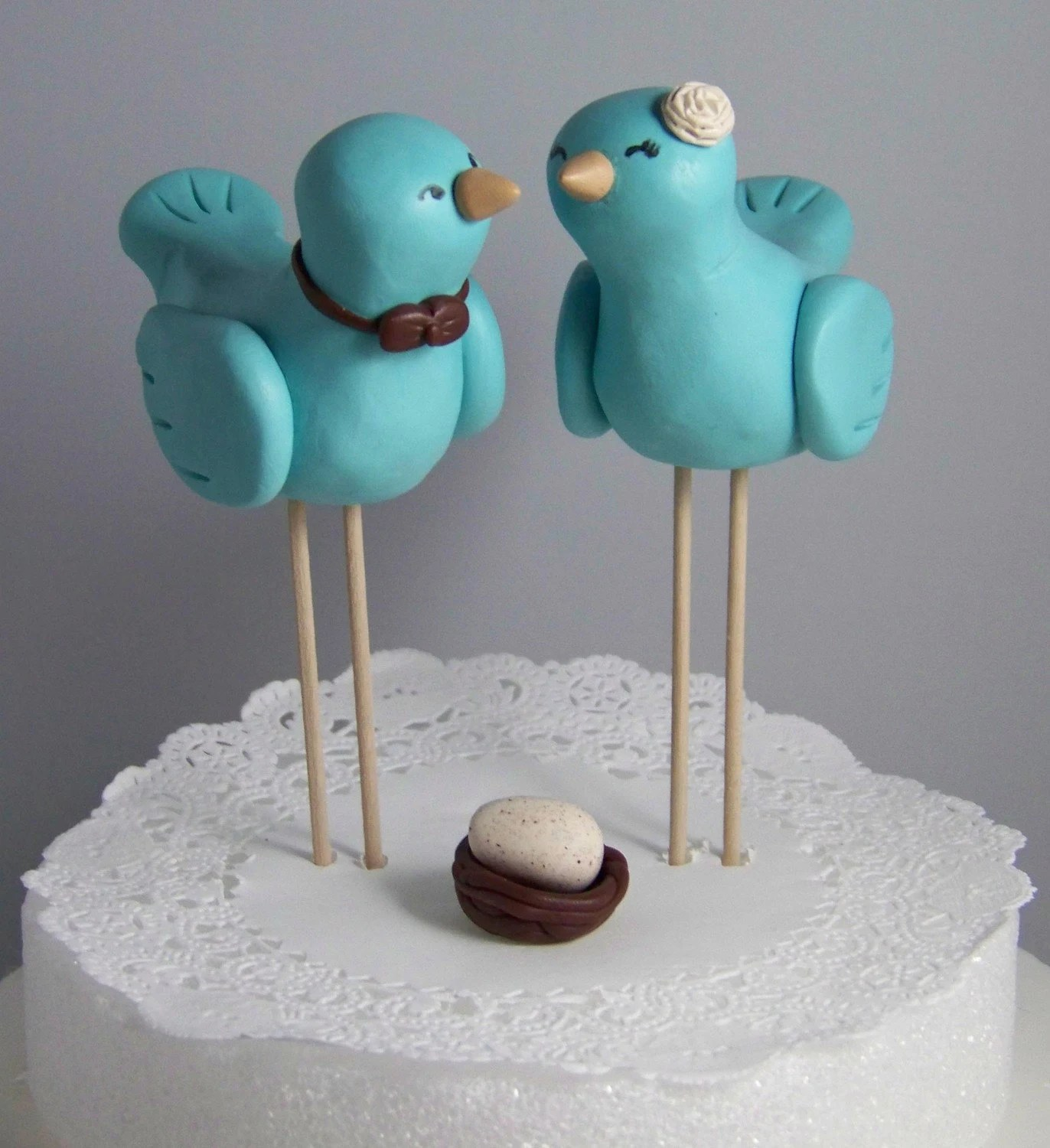 Large Nuzzling Love Birds Cake Topper with Nest and Speckled Egg Hand Sculpted Choice of Colors